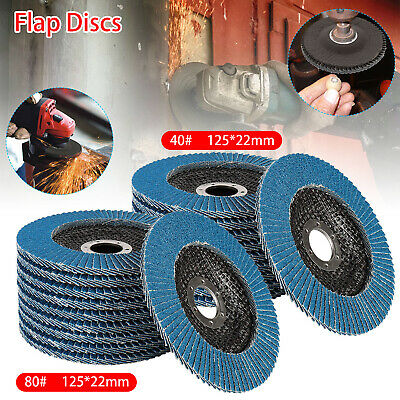 10x Flap Discs 125mm Sanding 40 80 Grit Grinding Wheels Discs 5  Angle Grinder • 9.39£
