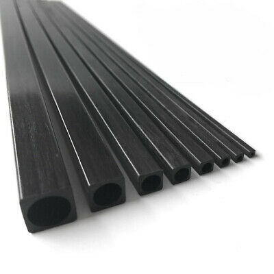 2pcs Carbon Fiber Square Tube Square Pipe With Round Hole Pole 2x2-10x10mm 500mm • 10.79£