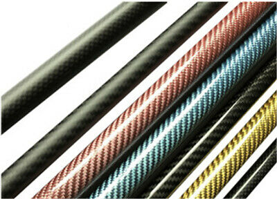 2pcs 3K Carbon Fiber Tube Pipe Colurful Glossy Surface Roll Wrapped 500mm  • 12.49£
