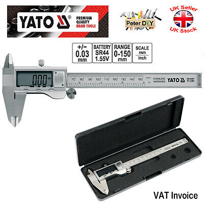 VERNIER Digital Calliper 150mm/0,02mm Caliper Gauge STAINLESS Yato YT-7201 • 24.97£