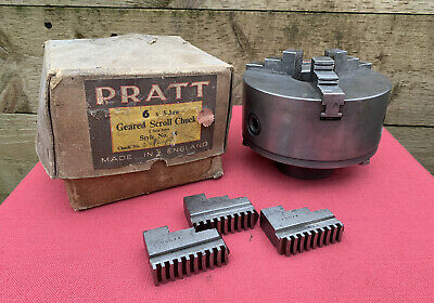 "Vintage Boxed 6"" Pratt No 58 Geared Scroll Lathe Chuck With Jaws Woden Bolts  • 149.99£"