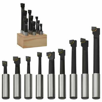 VidaXL 9x Boring Cutters 12 Mm With Wood Base Lathe Milling Tool Kit Hardware • 20.99£