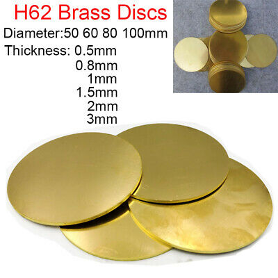 H62 Solid Brass Discs Blanks Metal Round Sheets OD 50-100mm Thick 0.5mm 1mm- 3mm • 4.46£