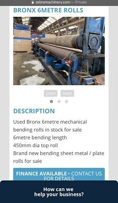 Bronx 6metre Sheet Metal Plate Beding Rolls / Many More Machines For Sale • 17,000£