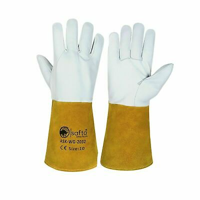 5 Pairs Welding Gloves Sheepskin Leather With Yellow Cow Split Leather Cuff 2032 • 26.99£