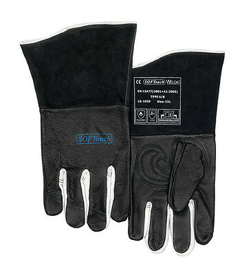 Weldas Black Leather Multi Process Mig Tig MMA Welding Gloves - Perfect For TIG! • 24.99£