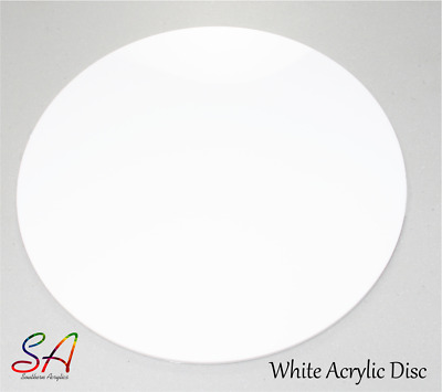 WHITE GLOSS ACRYLIC CIRCLE, DISC, PLASTIC PERSPEX 3mm & 5mm • 45.45£