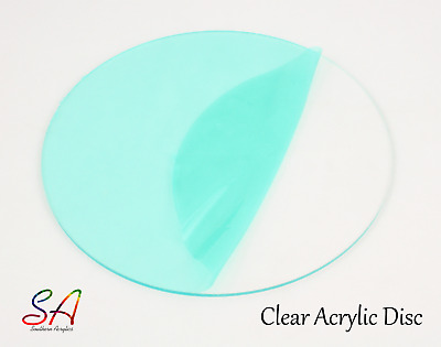 CLEAR 2mm 3mm 4mm 5mm Circles, Discs, ACRYLIC PLASTIC SHEETS PERSPEX 100mm-600mm • 30.48£