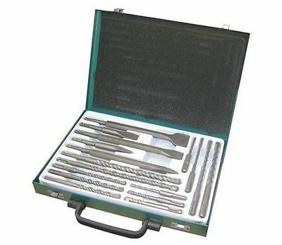 17pc SDS Drill Bits Set Point Flat Centre Chisel Bits Metal Storage Carry Case • 28.42£