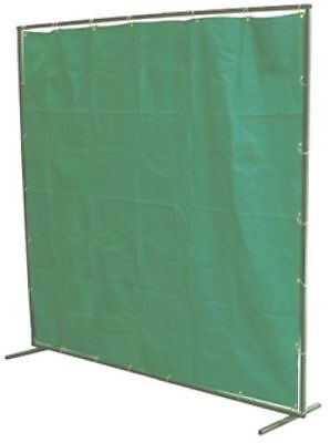 8ft W X 6ft H Green Canvas Welding/grinding Spatter Curtains C/w Frame + Rings • 79.99£