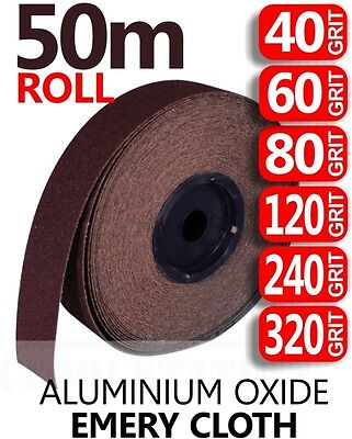 50m ROLL ALL GRITS Emery Cloth Aluminium Oxide Sanding Paper Sheet Metalworking  • 19.99£