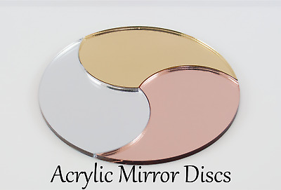 MIRROR ACRYLIC DISCS CIRCLES ROSE GOLD, GOLD, SILVER 3mm, 100mm - 600mm • 57.75£