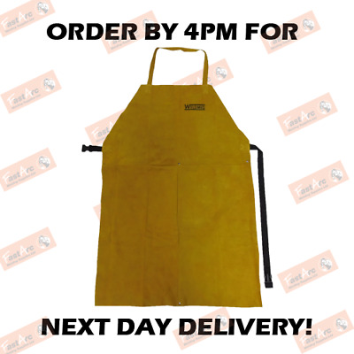 Weldmig Gold Leather Welding Apron C/w Straps & Buckles Stitched 24'' X 36'' • 16.99£