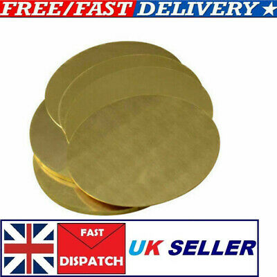 H62 Solid Brass Discs Round Sheet Plate Thick 0.5/1/2/3MM Dia 50/60/80/100MM • 6.29£