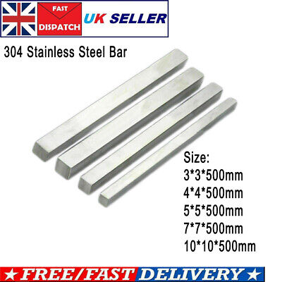 Stainless Steel Solid Square Stick Strip Metal Bar L 500MM 3/5/7/10MM • 9.99£