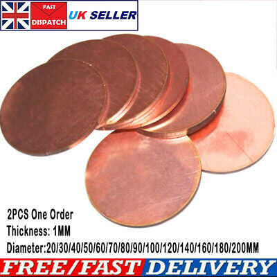 Red Copper Round Plate Board Discs Thick 1MM Dia 20-200MM DIY Material 2pcs • 6.79£