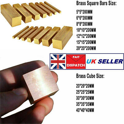 H59 Solid Brass Square Bars Rods Stick L 200MM Brass Metal Cube 20/25/30/35/40MM • 8.63£