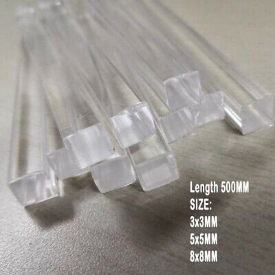 Acrylic Plexiglass Lucite Solid Square Bar Rods 2/5PCS PMMA L 500MM Size 3/5/8MM • 6.49£
