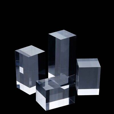 Acrylic Solid Cube Cuboid Suqare Bar Display Stand Holder H 5/8/10/12CM  • 11.69£