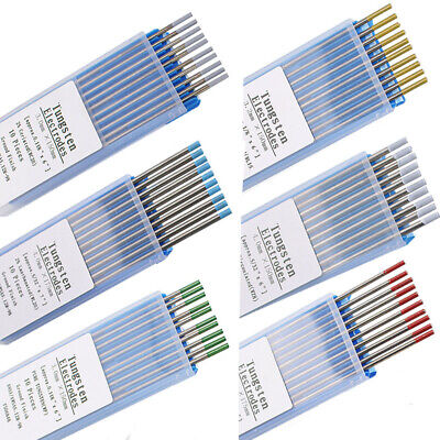 TIG Welding Tungsten Electrodes Dia1.6/2.4MM Blue/Gold/Green/Grey/Red/White 10PC • 9.49£
