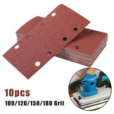 10*Punched Sanding Sheets 93 X 185Mm Sandpaper Pads 8 Holes Hook And Loop • 4.06£