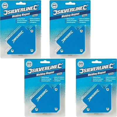 Silverline 4pc 18lb Welding Magnet Right Angle Square Holder Soldering Durable • 9.99£