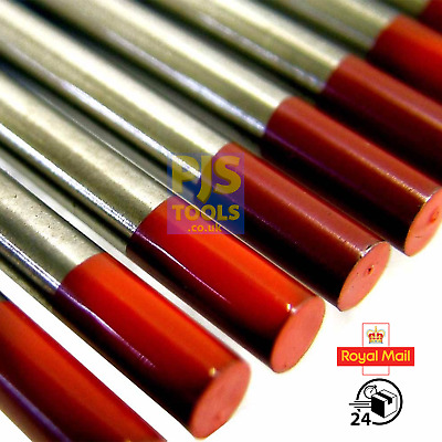 10 X Red 2% Thoriated Tig Tungsten Electrodes Sizes 1.0mm - 6.4mm Tungstens • 8£