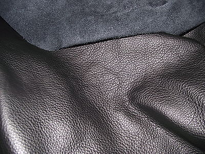 Antique Leather Black Upholstery Furniture Cow Hide Genuine • 37.36£