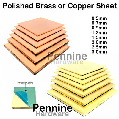 BRASS OR COPPER SHEET 0.55 To 3.0 Mm Guillotine Cut Metal From UK Trade Supplier • 7.04£