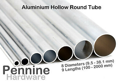 ALUMINIUM HOLLOW ROUND TUBE Pipe  8 Diameters 9 Lengths Available • 9.63£