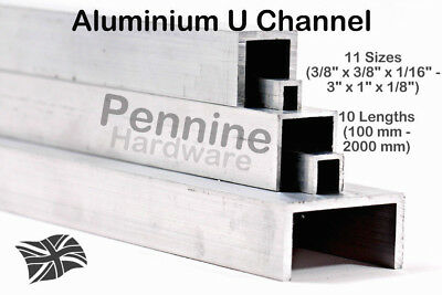ALUMINIUM U CHANNEL 11 Sizes & 10 Lengths From UK Trade Metal Supplier Saw Cut • 15.02£