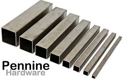 STAINLESS STEEL SQUARE Hollow BOX SECTION Brushed Finish Bandsaw Cut Lengths  • 11.44£