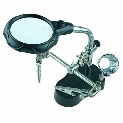 Deluxe Helping Hand With Magnifier And Light Soldering Solder Tool • 7.99£
