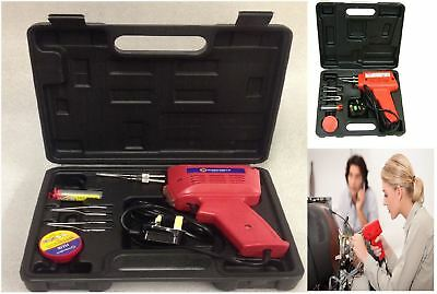 New Electric Soldering Iron Solder Gun Kit 3 Tips Case Workplace Home Hobby • 15.95£