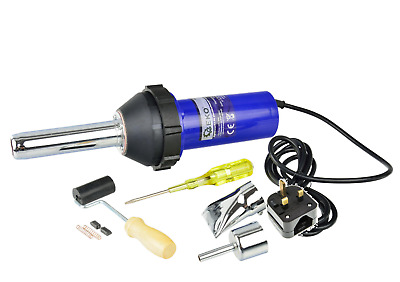 1080W Plastic Hot Air Welding Gun Welder Torch + 2 X Nozzles + Roller + Adapter • 34.99£