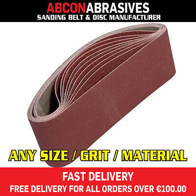 10 X Abrasive Sanding Portable Belts 75x457mm (P36-P500) Manufactured In Ireland • 11.20£