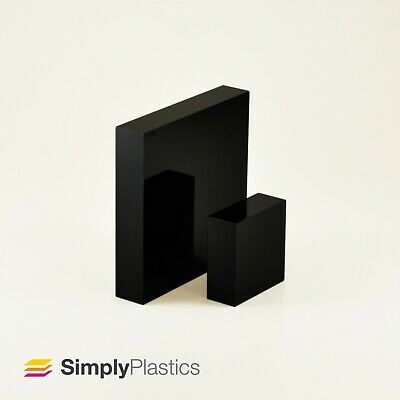 Polished Black Cast Acrylic Plastic Perspex Plexiglass Block / Various Sizes / • 16.08£