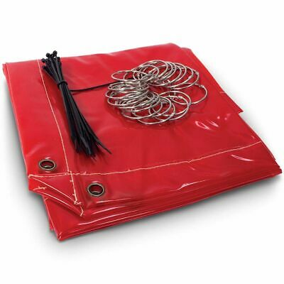 Michigan WELDING CURTAIN 1.74m2 Fire Retardant, Zip Ties & Rings RED *USA Brand • 72.04£