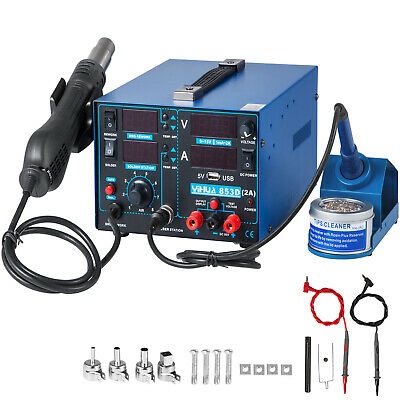853D-USB 4-in-1 Rework Station Hot Air Gun Soldering Iron DC Power Supply 800W • 94.98£