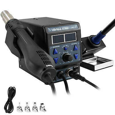 8786D-I Hot Air Gun Desoldering Soldering Iron Station 2in1 Rework Station 700W • 52.98£