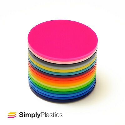 3mm Perspex® Laser Cut Coloured Acrylic Plastic Disc Circle / Various Diameters • 9.50£