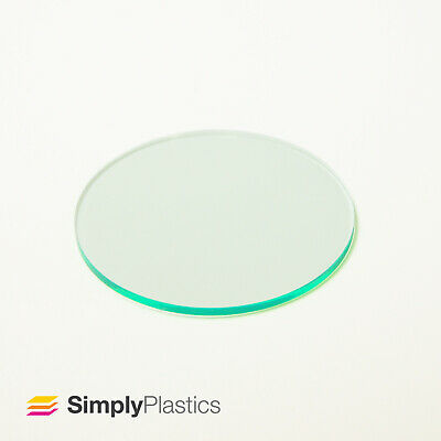 Perspex® Laser Cut Glass  Look  Green Edge Acrylic Plastic Disc Circle • 15.68£