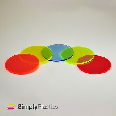 Perspex® Laser Cut Flourescent Acrylic Plastic Disc Circle / 3mm & 5mm • 10.42£