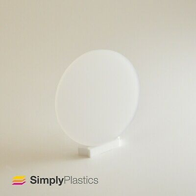 Perspex® Laser Cut Polar White Frosted Plastic Disc Circle / 3mm & 5mm Thickness • 8.79£
