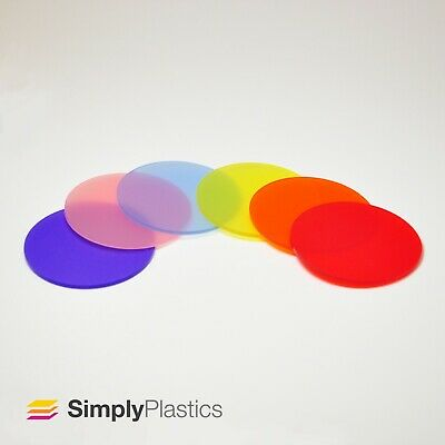 3mm Perspex® Laser Cut Coloured Frosted Plastic Disc Circle • 10.99£