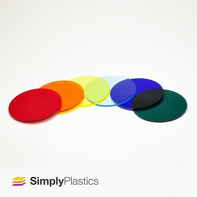3mm Perspex® Laser Cut Coloured Tinted Cast Acrylic Plastic Disc Circle • 9.33£