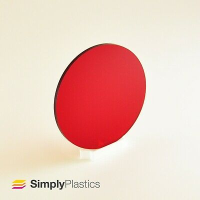 3mm Perspex® Laser Cut Red 4401 Tinted Acrylic Plastic Disc • 12.15£