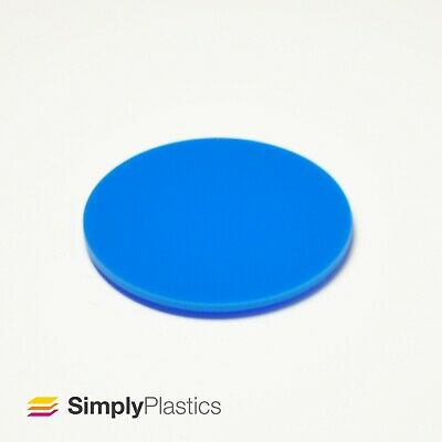 Perspex® Laser Cut Blue 727 Acrylic Plastic Discs / Multi-packs  • 32.63£