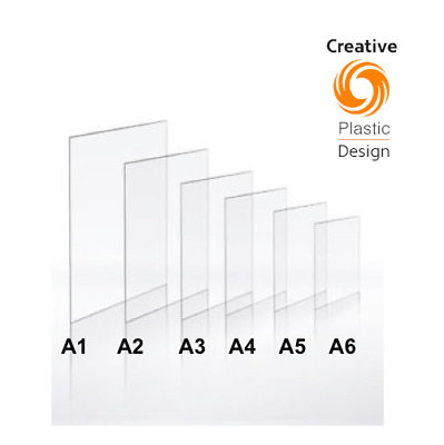 Clear Plastic Perspex Acrylic Plexiglass Cut Sheet A1 A2 A3 A4 A5 A6 2mm To 5mm • 4.25£