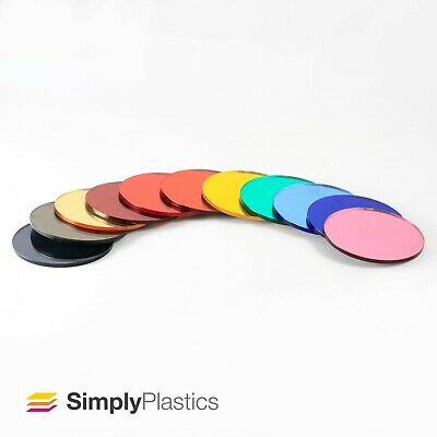 3mm Plaskolite® Laser Cut Coloured Acrylic Mirror Plastic Disc Circle  • 15.79£